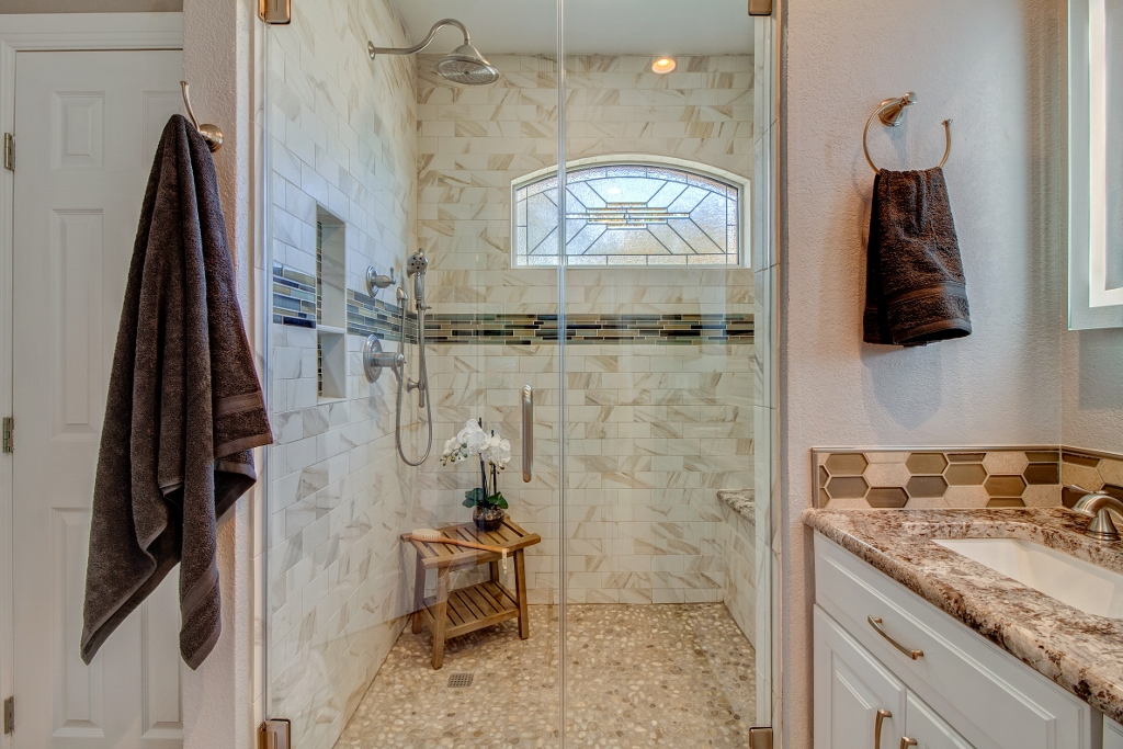 Bathroom Stained Glass Transom