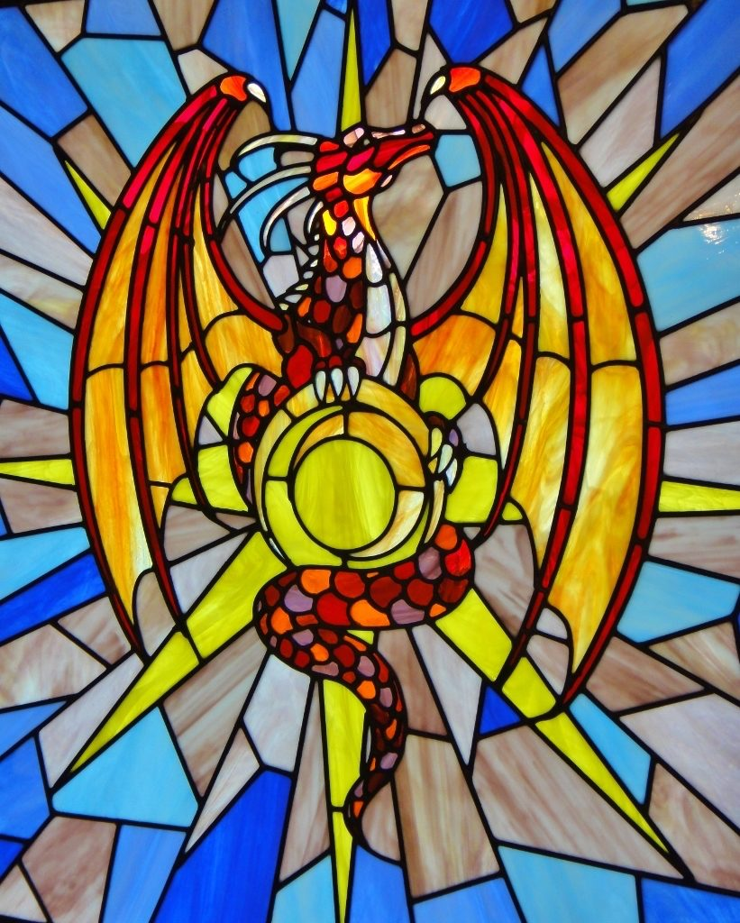 Church Stained Glass Dragon