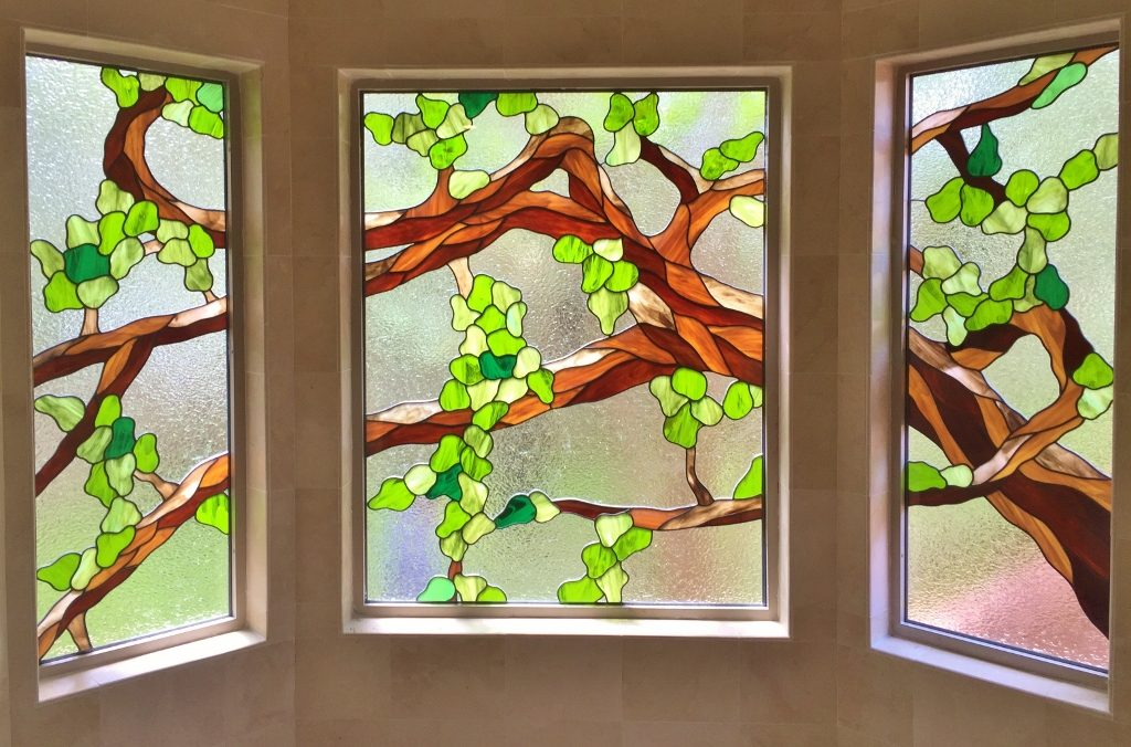 Floral Stained Glass Tree