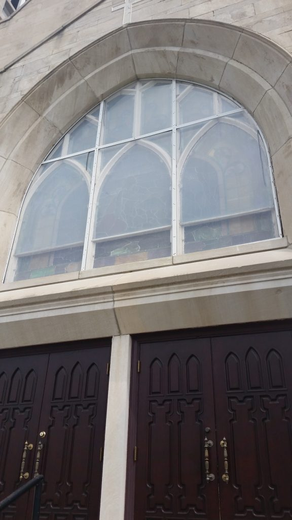 Transom Stained Glass above entryway